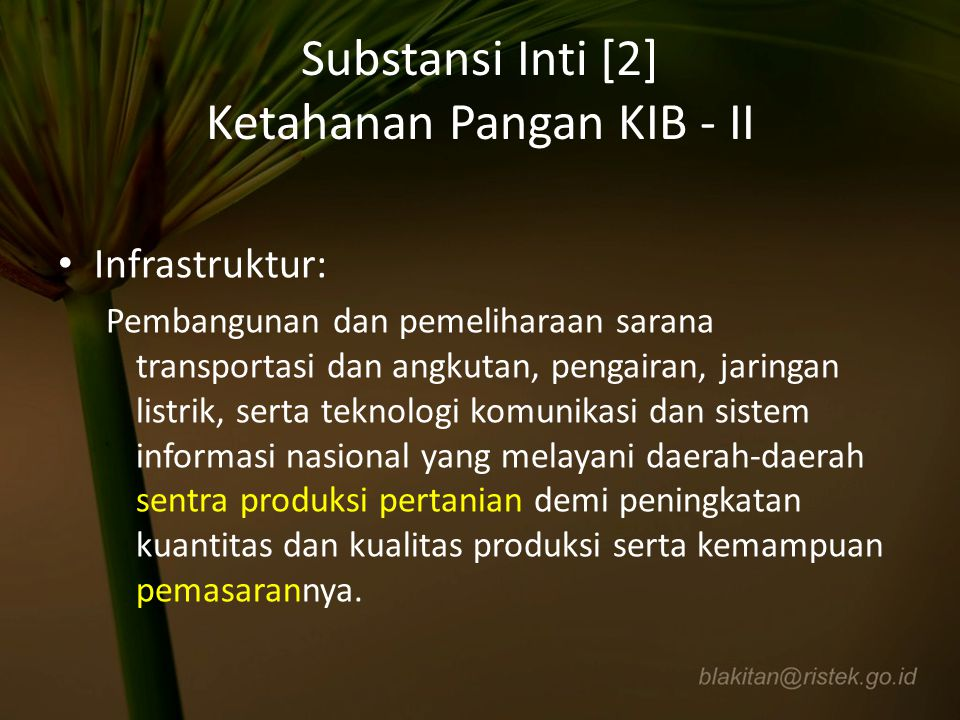 Substansi Inti [2] Ketahanan Pangan KIB - II